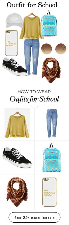 """""""Outfit for School"""" by ava-josephine on Polyvore featuring WithChic, Vans, BaubleBar, Topshop, Victoria Beckham and La Fiorentina"""