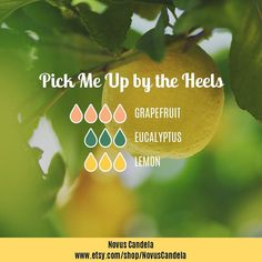 Pick Me Up by the Heels Recipe Diffuser Blend 4 drops of Grapefruit 3 drops of Eucalyptus 3 drops of Lemon Close your eyes inhale and start your Saturday off right.