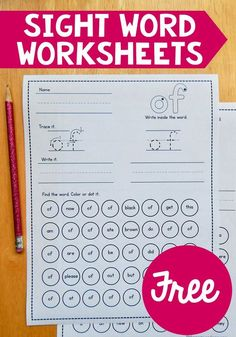TEACH YOUR CHILD TO READ - Find over 90 free sight word worksheets for both the preprimer and primer word lists! These are a great way to squeeze in some sight word practice. Super Effective Program Teaches Children Of All Ages To Read. Preschool Sight Words, Teaching Sight Words, Sight Word Practice, Sight Word Games, Sight Word Activities, Pre K Sight Words, Kindergarten Sight Word Worksheets, Learning Activities, Sight Word Book