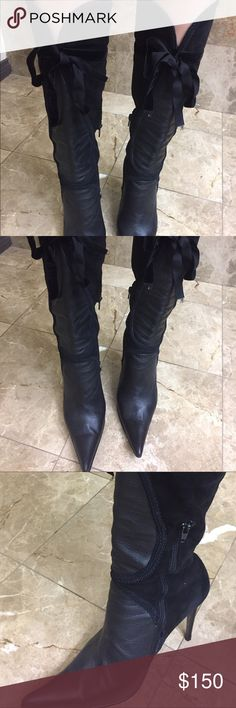 """Boot Black leather and velvet boot, 4"""" heel, preowned still in good condition. Size 40 fits 9 Shoes"""