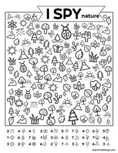 Free Printable I Spy Nature Game. Outdoor themed boredom buster game for kids to play on a cold rainy winter day, in the summer, or on a road trip. fun winter Free Printable I Spy Nature Game - Paper Trail Design I Spy Games, Activity Games, Kids Activity Sheets, Paper Games For Kids, Drawing Games For Kids, Kid Games, Toddler Activities, Preschool Activities, Kids Printable Activities