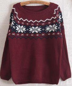 Red Long Sleeve Snowflake Pattern Loose Sweater US$26.99