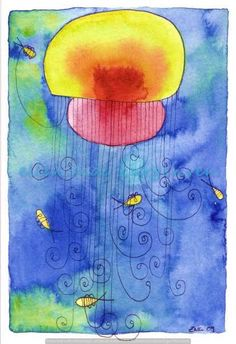 Original sealife watercolor Watercolour and ink jellyfish.  please visit my page  check out my other paintings on: https://www.facebook.com/pages/Ellen-Curgenven/144471855572493?ref=hl