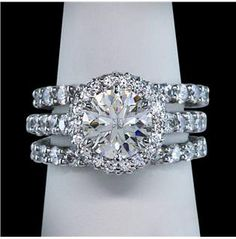 2.76 carat halo diamonds ring 3 row anniversary ring white gold 18K solid gold 3 rows for 3 kids yes!