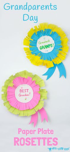 Paper Plate Rosettes are a great Grandparent's Day Craft. Every Granny and Grandad will feel appreciated receiving a personalised award they can wear too! Grandparents Day Preschool, Grandparents Day Cards, Mothers Day Cards, Craft Activities, Preschool Crafts, Crafts For Kids, Kids Diy, Preschool Ideas, Paper Plate Crafts
