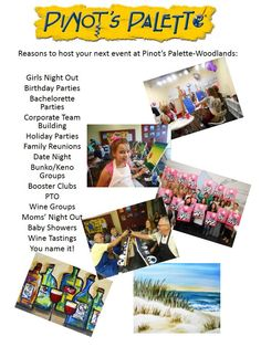 Host your party with us! Birthday Parties, Girls Night Out, Date Night, Bachelorette Parties, Anniversary Night, Team Building, Corporate Parties, Holiday Parties, Family Reunions, Bunko/Keno Groups, Booster Clubs/PTO, Wine Groups, Moms' Night Out, Bridal Showers, Baby Showers, Launch Parties
