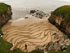 San Francisco-based artist Andres Amador etches large intricate and organic patterns on beaches along the coast of California.