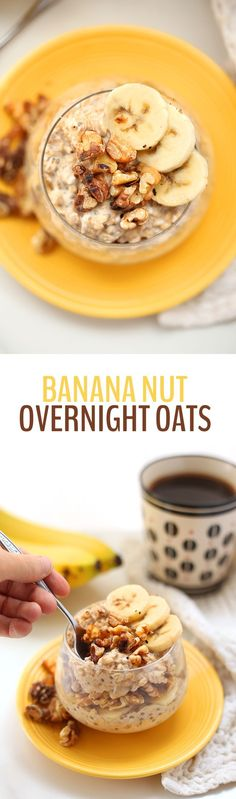 Prep your breakfast in 5 minutes or less with these Banana Nut Overnight Oats. Pop them in the fridge overnight for an easy, healthy and nutritious breakfast waiting for you in the morning. Thanks to the Healthy Maven Breakfast Desayunos, Nutritious Breakfast, Healthy Breakfast Recipes, Brunch Recipes, Healthy Snacks, The Healthy Maven, Snacks Saludables, Banana Nut, Overnight Oats