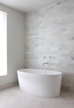 gorgeous and simple! like the faucet Tile pattern floormodern bathroom by Foster Design Build LLC