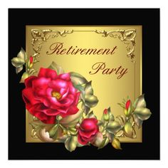 black gold red rose womans retirement party custom announcements retirement invitation template retirement party invitations