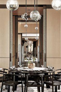 Asian Interior Design, Luxury Interior, Interior Design Living Room, Interior Decorating, Restaurant Concept, Modern Restaurant, Restaurant Design, Lobby Design, Round Dining