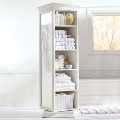 Pottery Barn Teen Display-It Storage Mirror, Simply White - Bath + Beach - Bathroom Storage Revolving Bookcase, Bookcase Shelves, Wall Shelves, Shelf, Storage Mirror, Bathroom Storage, Mirror Box, Floor Mirror, Casa Loft