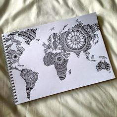 Well if this isn't an ambitious zentangle project! Totally beautiful mandala style zentangle map of the world. Doodle Art, Doodle Drawings, Zen Doodle, Inspiration Art, Art Inspo, Fashion Inspiration, Zantangle Art, Dibujos Zentangle Art, Zentangle Patterns