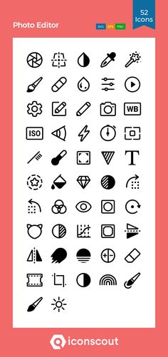 Photoeditor Icon Pack - 52 Line Icons Glyph Icon, Png Photo, Png Icons, Line Icon, Icon Pack, Icon Font, Glyphs, Design Development, User Interface