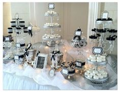 Black and White Candy Table for Wedding