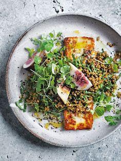 Spiced Freekeh Fig And Haloumi Salad Donna Hay Haloumi Salad, Fig Salad, Whole Food Recipes, Cooking Recipes, Vegetarian Recipes, Healthy Recipes, Food Blogs, Salad Recipes, Cheese Recipes