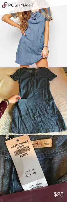 🎉1 HOUR SALE🎉Hollister Denim Lace Up Dress NWT. Size XS. Very cute with a pair of sneakers. Hollister Dresses Mini