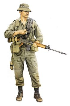 A depiction of a Royal Australian Regiment soldier, Vietnam, Vietnam War Photos, Vietnam Vets, Military Gear, Military History, Military Uniforms, Military Drawings, Army Uniform, British Army, Special Forces