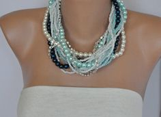 Ocean Brides Chunky Layered  Pearl  Necklace by kirevi8 on Etsy, $90.00