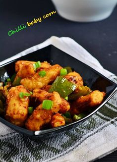 {New post}. Crispy chilli baby corn recipe: Shallow fried crispy baby corns tossed in spicy and flavorful sauce along with bell peppers. Famous street food/ indo chinese starter,recipe @ http://cookclickndevour.com/crispy-chilli-baby-corn-recipe-how-to-make