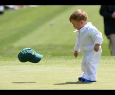This defines cute! Masters Par 3 Contest Apr 9, 2014; Augusta, GA, USA; Finn Stallings the son of Scott Stallings throws his cap on the 4th green during the Par 3 Contest before the 2014 The Masters golf tournament at Augusta National Golf Club. Credit: Michael Madrid-USA TODAY Sports Date: Apr 10, 2014 | #Golfplatz #kgc #Dellach #Wörthersee #golf #sport #golfing #golfcourse #golflife #golfer