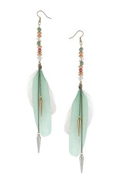 Chandelier earrings with pearls and feathers