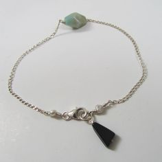 Magic Bean Bracelet in sterling silver, aventurine, and jet agate by Oncefound  Available at www.oncefound.co.uk