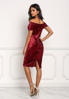 6f0949baf2 Burgundy Off Shoulder Crushed Velvet Bodycon Dress - Clothes - New Sexy  Dresses, Dress Outfits