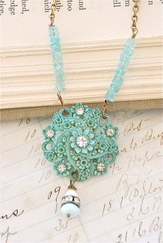 Lady blue. vintage assemblage, light aqua apatite gemstone necklace. Tiedupmemories