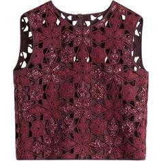 Alberta Ferretti's deep merlot cropped top is made with a crochet knit and finished with an intricate floral design.  Shimmering texture adds glamour * Deep re…