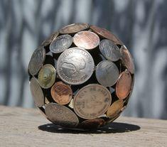 recycling basteln alte münzen kugel