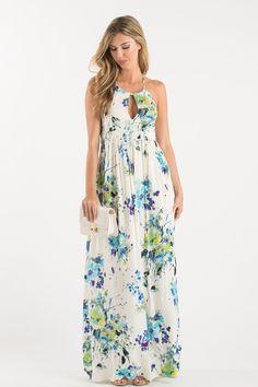 Lisa Cream Floral Maxi Dress – Morning Lavender