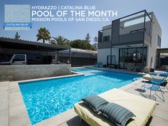 """Our August """"Pool of the Month"""" comes to us from our partners at Mission Pools in San Diego! This Southern California beauty features the long-lasting luster of Hydrazzo in Catalina Blue. #hydrazzo   #swimmingpool  #pool #poolparty"""