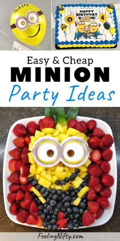 DIY Minion party ideas for a birthday party. Fruit platter minion food idea, DIY minion balloon decorations, edible paper Minion cake design and DIY minion poster. Perfect for any birthday girl or boy whose a Minion fan or Despicable Me fan! Diy Birthday Cake, Birthday Cakes For Teens, A Birthday Party, Diy Birthday Decorations, Cakes For Boys, Balloon Decorations, Parties Decorations, Fruit Birthday, Minion Party Decorations