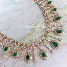 Emerald Combination Diamond Necklace - Latest Indian Jewellery Designs You are in the right place ab Jewelry Design Earrings, Gold Jewellery Design, Emerald Jewelry, Necklace Designs, Pendant Jewelry, Diamond Jewelry, Gold Jewelry, Dainty Jewelry, Rhinestone Jewelry
