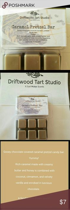Caramel pretzel bar soy blend wax tart/melt Can be used with most wax melters/burners  Fragrance descriptions in pics   Triple scented for maximum fragrance   1x 3oz clamshell container with 6 breakaway cubes  Hours amazing aromatic? fragrance will fill your house  Soy blend wax  #scentsy #wax #melts #yankee #candle Driftwood Tart Studio  Other