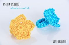Anello a forma di stella a uncinetto. http://www.farecreare.it/anello-uncinetto-in-cotone-colorato-per-estate/