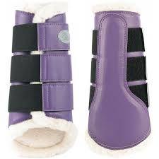 purple sheepskin dressage horse boots - Google Search