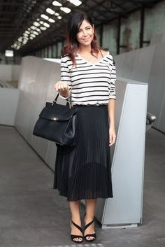 Mix up your basic classic pieces, like this casual striped tee, with your dressiest pieces for a unique and dimensional look. www.WorkingLook.com  #restyle #styling #style #fashion #maturista #stylingtips #styleinspiration  #styletips #wardrobegoals  #wardrobe