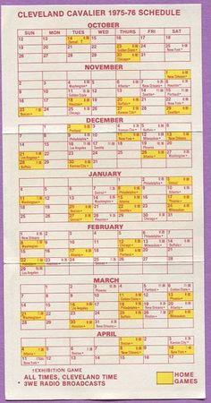 1975-1976 Cleveland Cavaliers NBA Basketball Schedule
