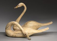 wooden swans. Simply beautiful...wish I had these.  Any information on these?