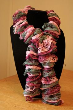 Pink and Grey Ruffle Scarf by ATangledYarn on Etsy, $16.00