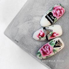 Nail Art Wheel, Nail Drawing, One Stroke Nails, Nail Stencils, Flower Nails, Almond Nails, Beauty Nails, Flower Decorations, Cute Nails