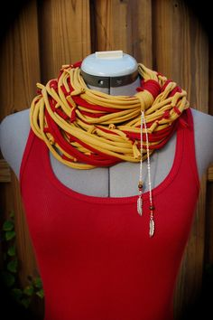 Upcycled Tshirt Scarf Necklace Shag Feathers by UniverSoulWear, $34.50