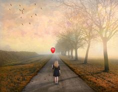 Waiting by Jean-Michel Priaux, via Where Did It Go, Just Go, Its A Girl Balloons, Long Way Home, Red Balloon, Jean Michel, Fine Art Photo, Photoshop Elements, Waiting