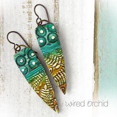 peacock fern  Polymer clay earrings. www.wiredorchid.com #wiredorchid #jewelry #earrings #polymerclay #polymerclayearrings