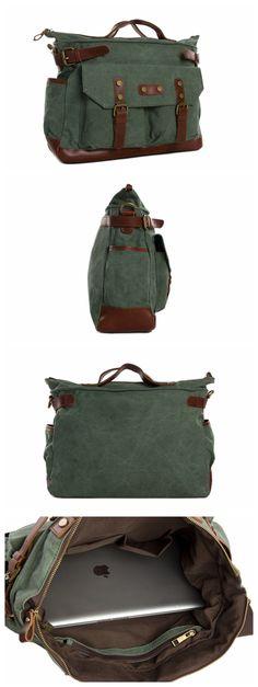 15'' Vintage Canvas Leather Travel Bag Briefcase Messenger Shoulder Bag Dufulle Bag