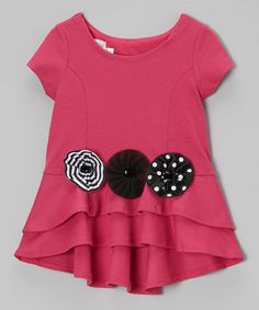 Another great find on #zulily! Hot Pink & Black Bow Tunic - Infant, Toddler & Girls #zulilyfinds