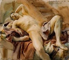 John Singer Sargent * Reclining Nude Male Model, ca 1890 Anthony Van Dyck, Claude Monet, Andy Warhol, Figure Drawing, Painting & Drawing, John Singer Sargent Watercolors, National Museum Of Wales, Queer Art, Oil Painting Reproductions
