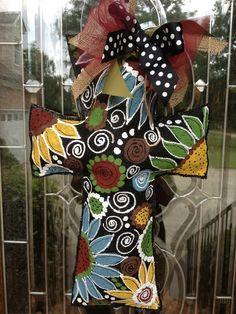 Fall flower cross burlee hanger